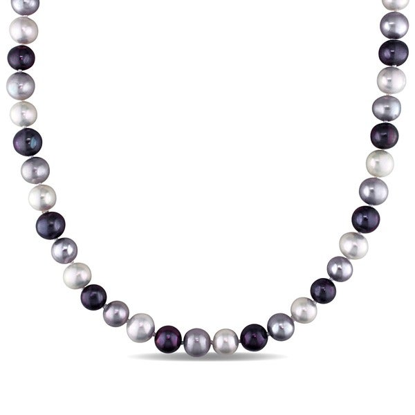 Miadora Black Grey and White Cultured Freshwater Pearl 18-inch Necklace (9-10 mm)