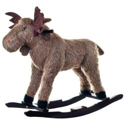 Brown Hand-crafted Kids' Happy Trails Plush Rocking Max Moose