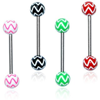 Surgical Steel Star Print Barbell Tongue Rings (Set of 4)