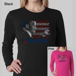 Los Angeles Pop Art Women's Barack Obama Long Sleeve T-shirt