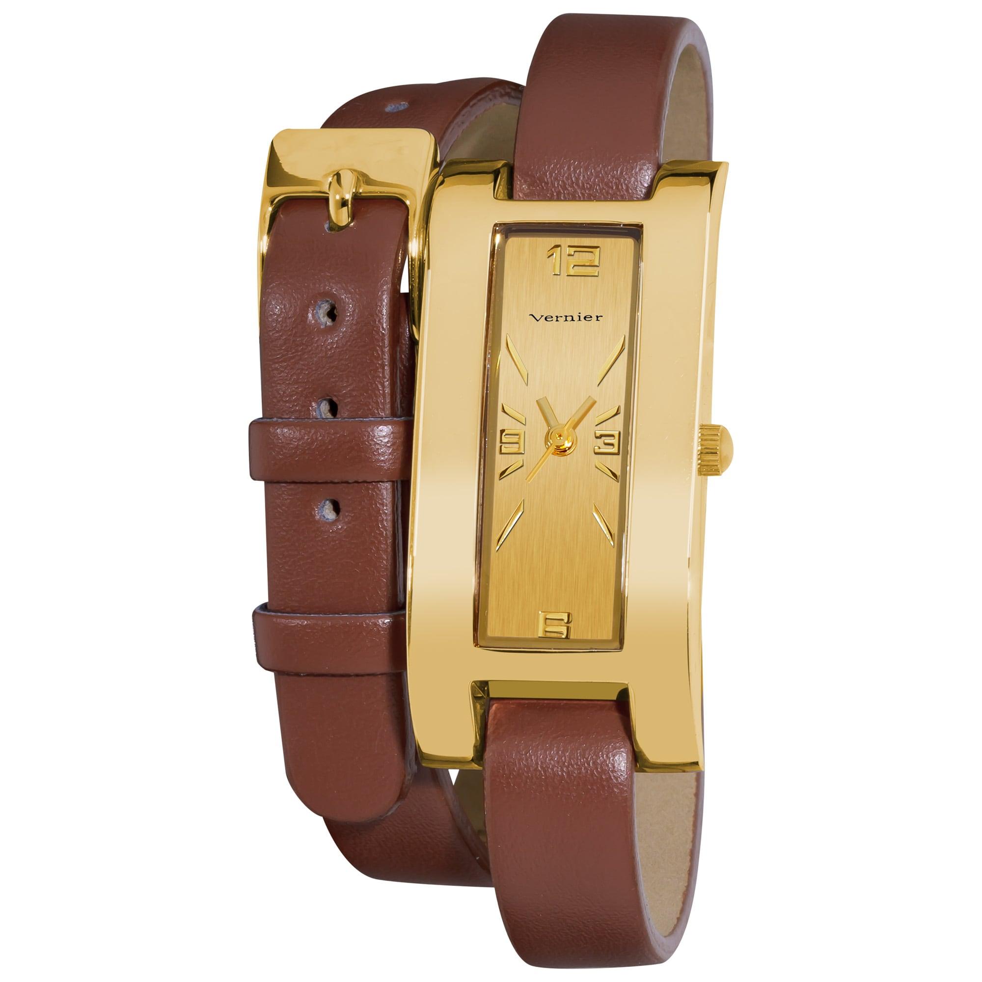 Vernier Women's Gold Tone V111-05 Brown Double Wrap Watch