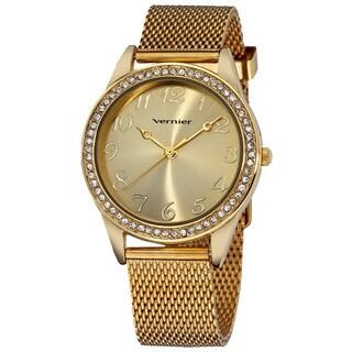 Vernier Women's Gold Tone Crystal Stone Bezel Mesh Strap Watch