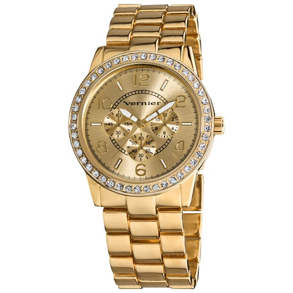 Vernier Women's Gold Tone Boyfriend Size Faux Chrono Crystal Stone Watch