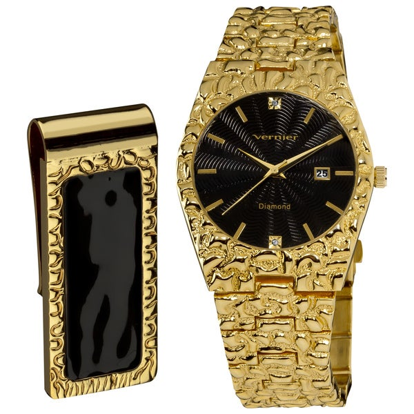 Vernier Men's 'Golden Nugget' Black Guilloche Dial/ Calendar Date Bracelet Watch