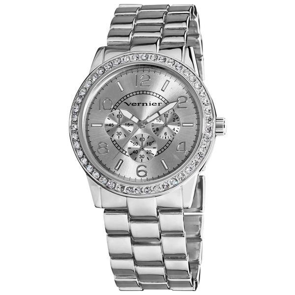 Vernier Women's Silver Tone Boyfriend Size Faux Chrono Crystal Stone Watch