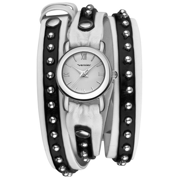 Vernier Women's Silver Tone Triple Wrap Black/ White Watch