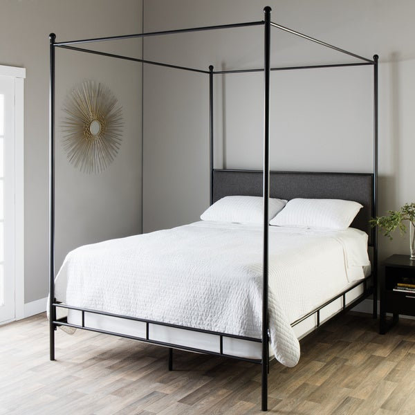 Lauren Grey Upholstered Queen-size Canopy Bed