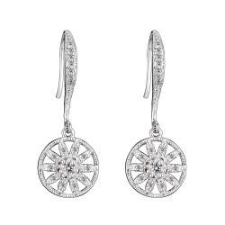 Collette Z Sterling Silver Clear Cubic Zirconia Round Drop Earrings