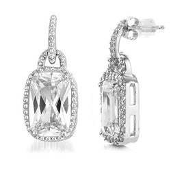 Collette Z Sterling Silver Emerald-cut Cubic Zirconia Earrings