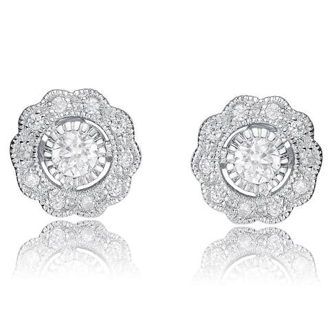Collette Z Sterling Silver Cubic Zirconia Round Flower Stud Earrings