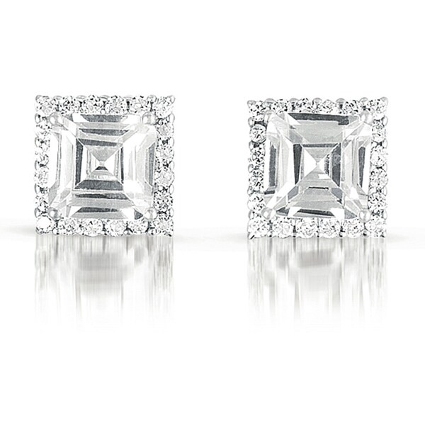 Collette Z Sterling Silver Cubic Zirconia Square Stud Earrings