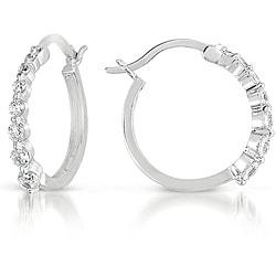 Collette Z Sterling Silver Graduated Cubic Zirconia Hoop Earrings