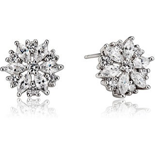 Collette Z Sterling Silver Cubic Zirconia Round Art Deco Earrings