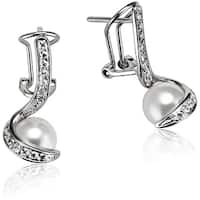 Collette Z Sterling-Silver White-Faux-Pearl and Cubic-Zirconia Twist Earrings