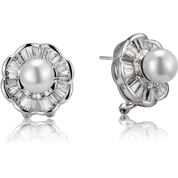 Collette Z Sterling Silver White Faux Pearl and Cubic Zirconia Flower Earrings