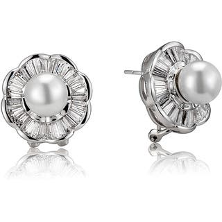 Collette Z Sterling Silver White Faux Pearl and Cubic Zirconia Flower Earrings|https://ak1.ostkcdn.com/images/products/6728771/P14276053.jpg?impolicy=medium