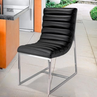 Parisian Black Leather Dining Chair by Christopher Knight Home