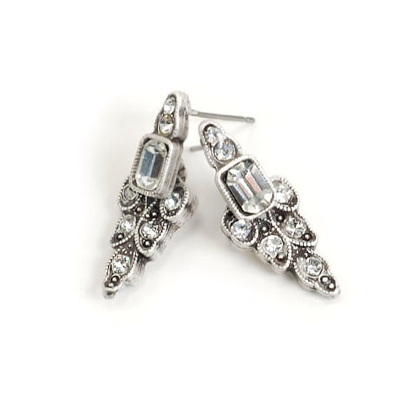 Sweet Romance Deco Crystal Vintage-style Earrings with Antique Finish