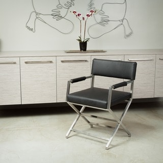 Martine Black Bonded Leather Director Chair by Christopher Knight Home