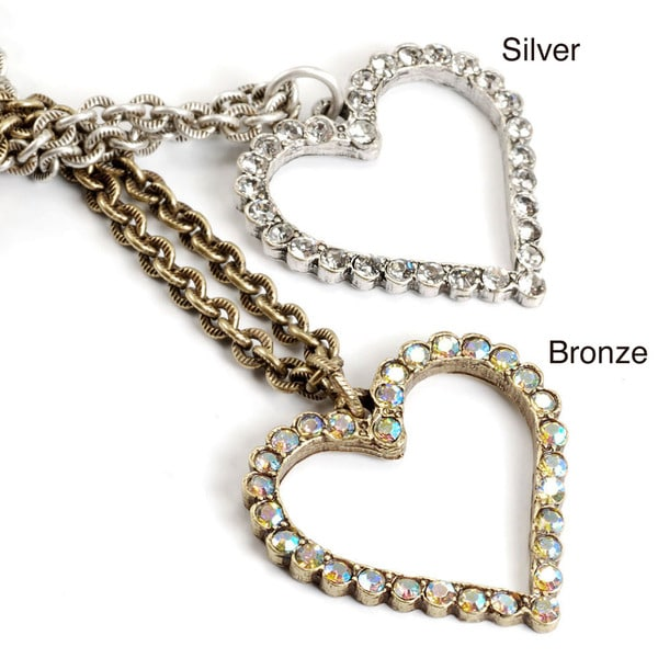 Sweet Romance Outline Crystal Heart Pendant Necklace