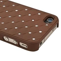 INSTEN Brown Diamond Gem Rear Snap-on Phone Case Cover for Apple iPhone 4/ 4S