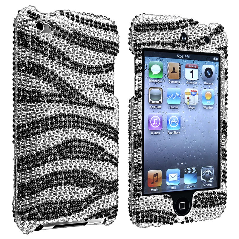 INSTEN Silver/ Black Zebra Snap-on iPod Case Cover for Apple iPod Touch Generation 4