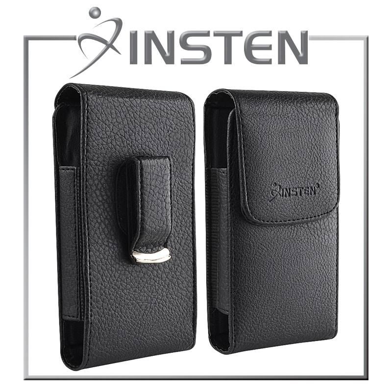 INSTEN Black Leather Phone Case with Magnetic Flap