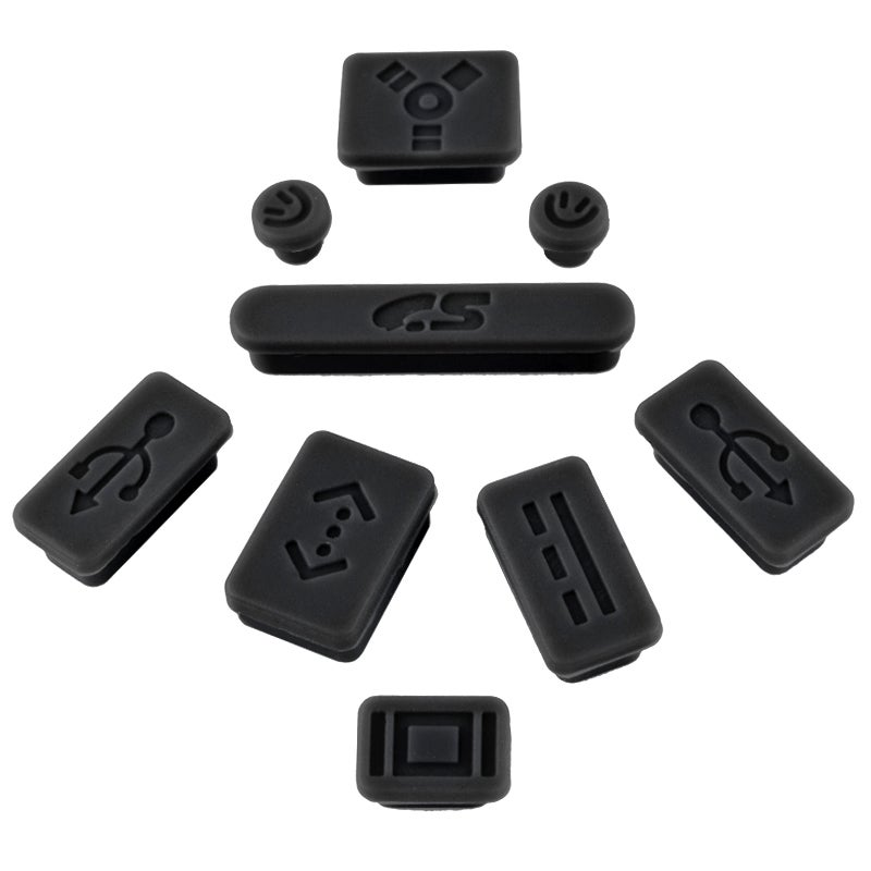 INSTEN Black Anti-Dust Soft Silicone Plug Cap for Apple MacBook Pro (Set of 9)