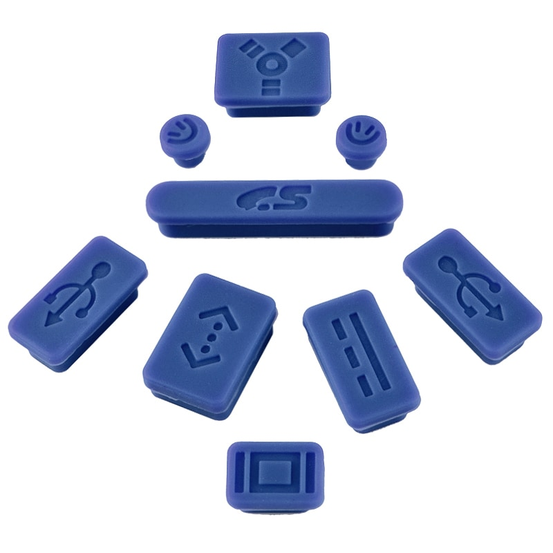 INSTEN Dark Blue Anti-Dust Soft Silicone Plug Cap for Apple MacBook Pro (Set of 9) - Thumbnail 0