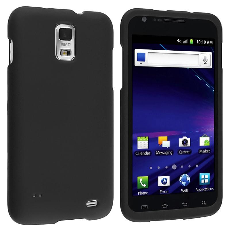 INSTEN Black Snap-on Rubber Coated Phone Case Cover for Samsung Skyrocket i727