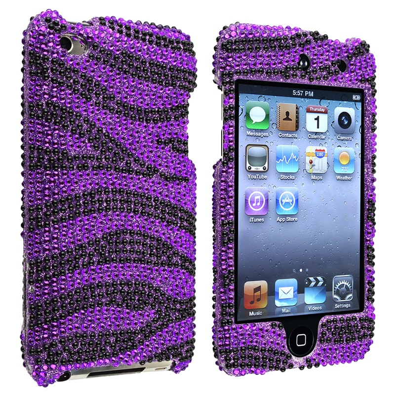 Purple/ Black Zebra Snap-on Case for Apple iPod Touch Generation 4