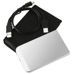 INSTEN Silver Aluminum 2.5-inch SATA HDD Enclosure with Shock Absorber