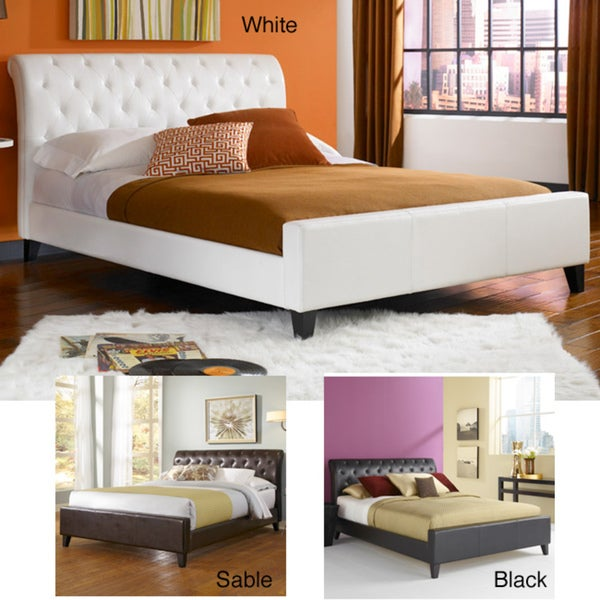 Omnia synthetic leather tufted full size platform bed