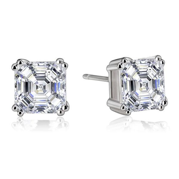 Collette Z Sterling Silver Cubic Zirconia Asscher-cut Stud Earrings