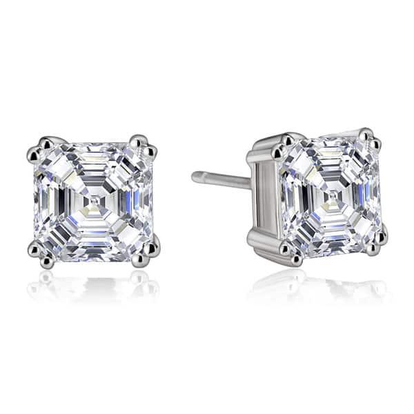 fbffb53dfdd72 Shop Collette Z Sterling Silver Cubic Zirconia Asscher-cut Stud ...