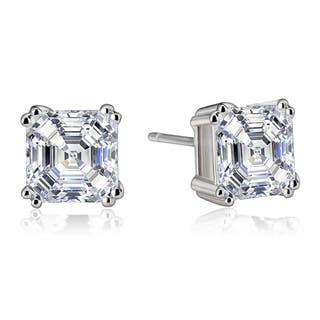 Collette Z Sterling Silver Cubic Zirconia Asscher-cut Stud Earrings|https://ak1.ostkcdn.com/images/products/6730503/P14277550.jpg?impolicy=medium