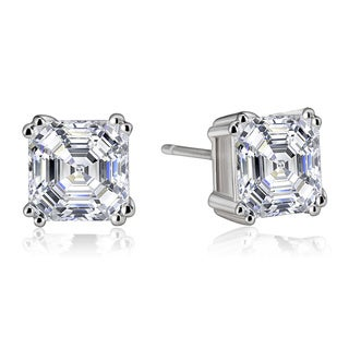Collette Z Sterling Silver Cubic Zirconia Asscher-cut Stud Earrings (3 options available)