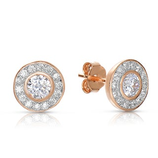 Collette Z Sterling Silver Round Cubic Zirconia Halo Stud Earrings (Option: ROSE)