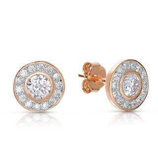 Collette Z Sterling Silver Round Cubic Zirconia Halo Stud Earrings