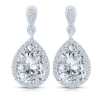 Collette Z Sterling Silver Clear Cubic Zirconia Pear Drop Earrings (2 options available)