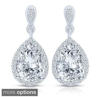 Collette Z Sterling Silver Clear Cubic Zirconia Pear Drop Earrings