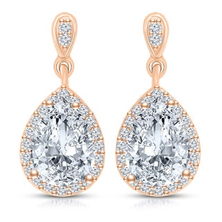 Collette Z Sterling Silver Clear Cubic Zirconia Pear Drop Earrings (Option: Rose)