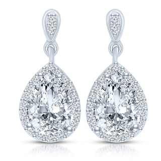 Collette Z Sterling Silver with Rhodium Plated Clear Pear with Round Cubic Zirconia Halo Teardrop Earrings