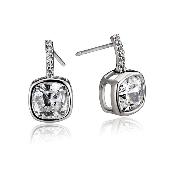 Collette Z Sterling Silver Clear Cubic Zirconia Square-Drop Earrings with Butterfly Clasps