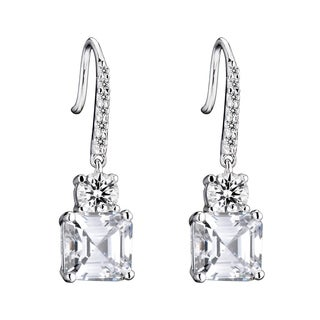 Collette Z Sterling Silver Clear Cubic Zirconia Square Drop Earrings