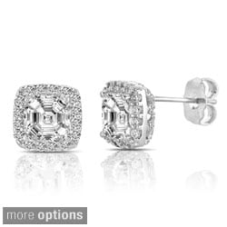 Collette Z Sterling Silver Cubic Zirconia Square Halo Stud Earrings