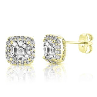 Collette Z Sterling Silver Cubic Zirconia Square Halo Stud Earrings (3 options available)