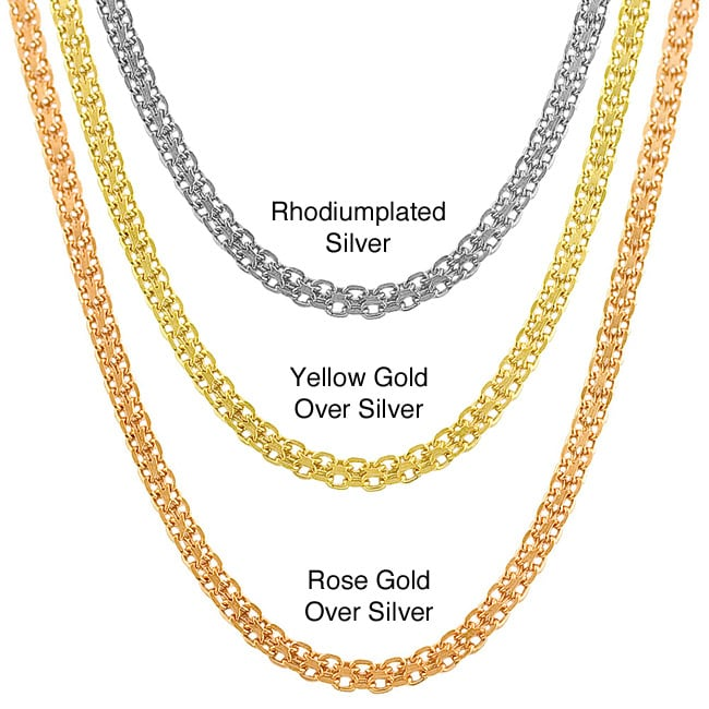 Fremada Yellow/ Rose Gold or Silver 3-mm Bismark Chain