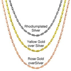 Fremada Yellow/ Rose Gold or Silver Diamond-cut 1.2-mm Alternating Bead Chain