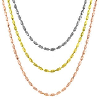 Fremada Yellow/ Rose Gold or Silver Diamond-cut 1.2-mm Alternating Bead Chain - 18-Inch (2 options available)